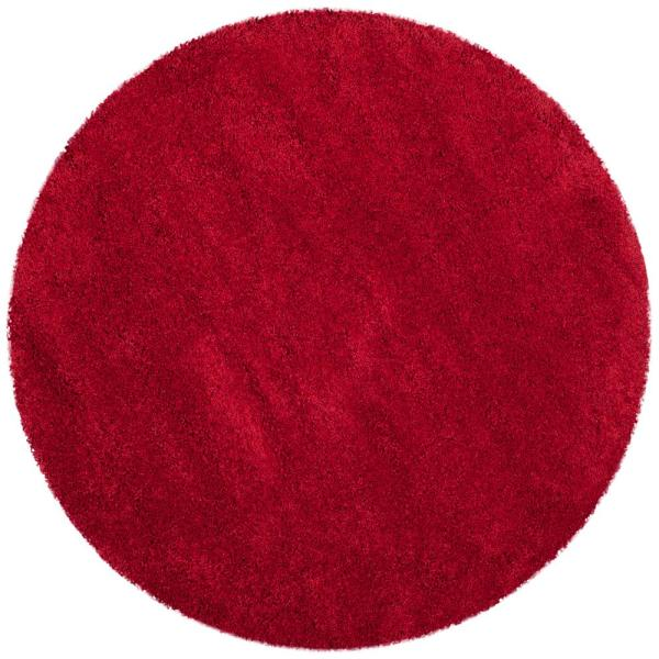 Milan Shag Red 3 ft. x 3 ft. Round Area Rug