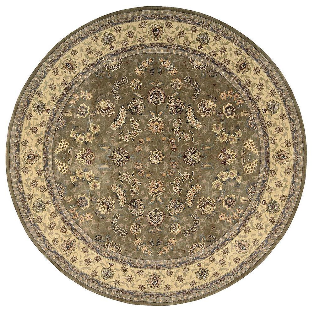 nourison 2000 olive 4 ft x 4 ft round area rug 491657 the home depot. Black Bedroom Furniture Sets. Home Design Ideas