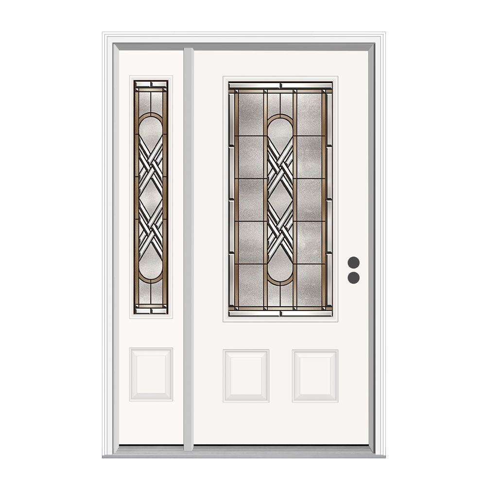 JELD-WEN 52.125 in. x 81.75 in. 3/4 Lite Ascot Primed Steel Prehung Left-Hand Inswing Front Door with Left Hand Sidelite