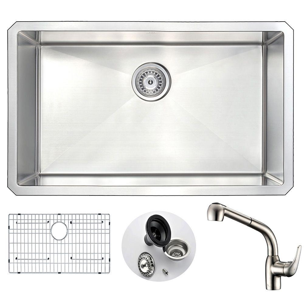 Kitchen Faucet Dimensions: ANZZI VANGUARD Undermount Stainless Steel 30 In. Single
