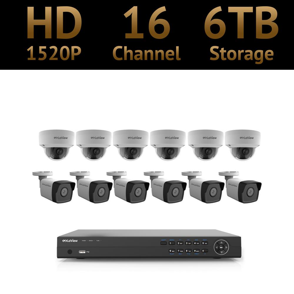 16-Channel Full HD 4MP IP Indoor/Outdoor Surveillance 6TB 4K NVR System