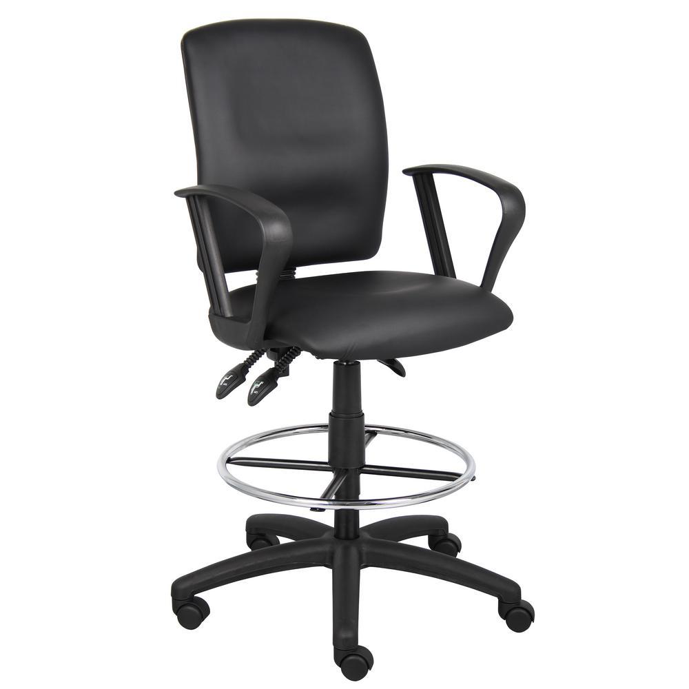 Black LeatherPlus- Loop Arms Ergonomic Multi-Function Drafting Chair