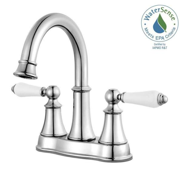 Courant 4 in. Centerset 2-Handle Bathroom Faucet in Polished Chrome with White Handles