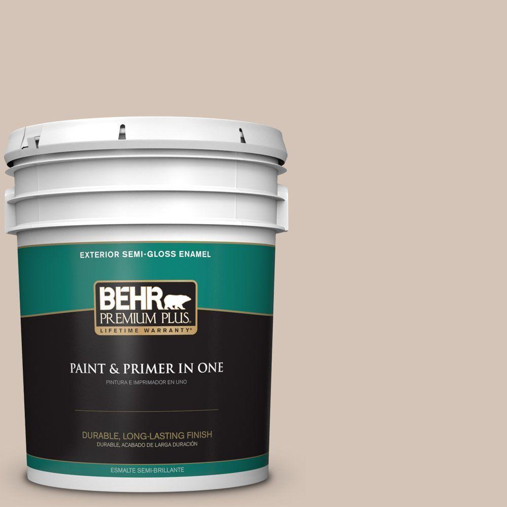 BEHR Premium Plus 5-gal. #BIC-02 Hazy Taupe Semi-Gloss Enamel Exterior Paint