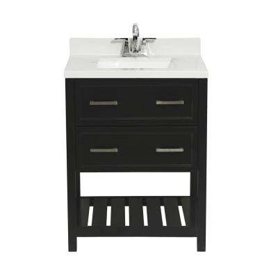 Milan 25 in. Bath Vanity in Espresso with Cultured Marble Vanity Top with Backsplash in Carrara White with White Basin
