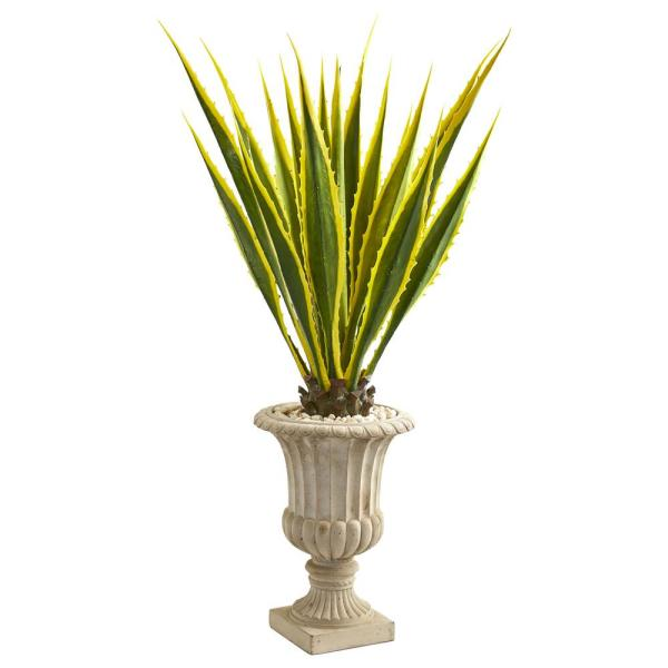 Nearly Natural 4.5 ft. Indoor Agave Artificial Plant in Urn 9070
