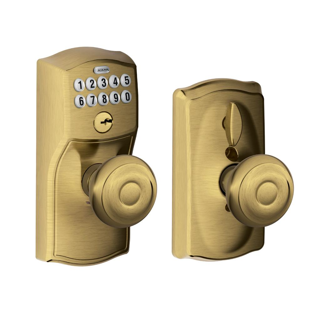 Amazing Schlage Georgian Antique Brass Keypad Electronic Door Knob With Camelot  Trim Featuring Flex Lock