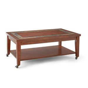 Davenport Brown Cherry Cocktail Table with Locking Casters by
