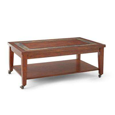 Davenport Brown Cherry Cocktail Table with Locking Casters