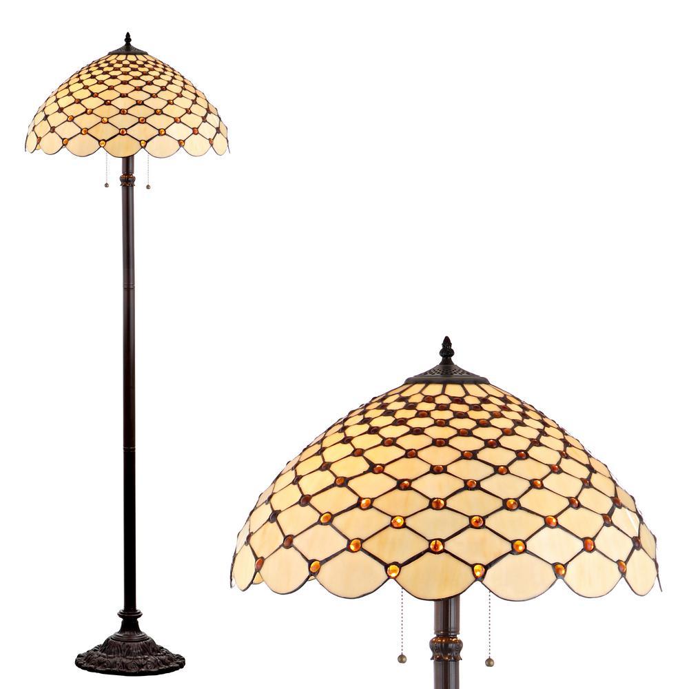Lee Tiffany-Style 62 in. Bronze Floor Lamp