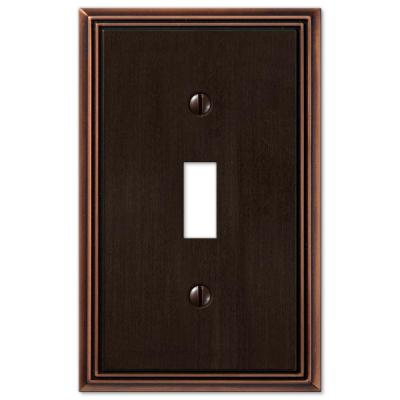 Rhodes 1 Gang Toggle Metal Wall Plate - Aged Bronze