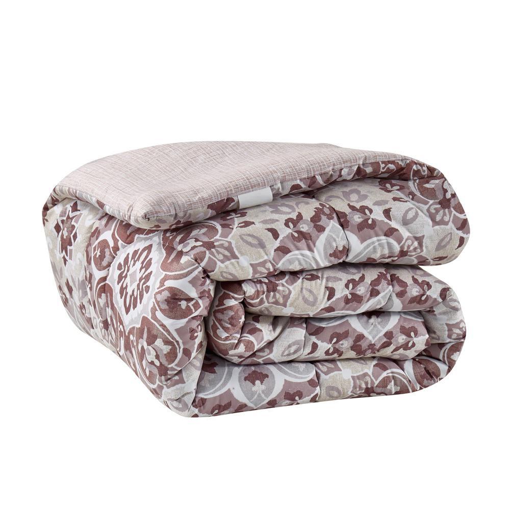 Santiago 9-Piece Mauve Full/Queen Bed in a Bag Set