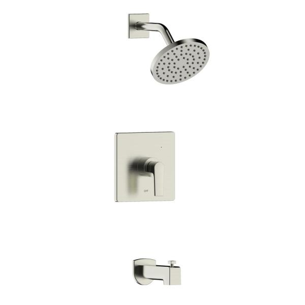 Chatelet Single-Handle 1-Spray Settings Round Tub and Shower Faucet Set in Brushed Nickel with Valve Included