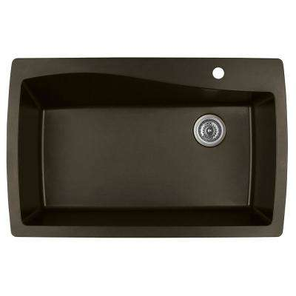 Drop-In Quartz Composite 34 in. 1-Hole Single Bowl Kitchen Sink in Brown