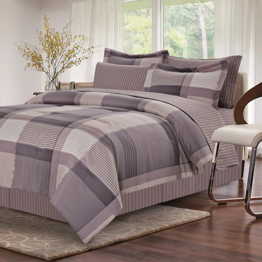 Brown Grey Harmony 8 Piece Full Bed In Bag Set