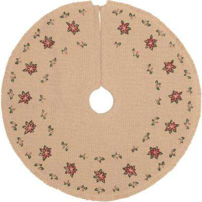21 in. Jute Burlap Poinsettia Natural Tan Holiday Decor Tree Skirt