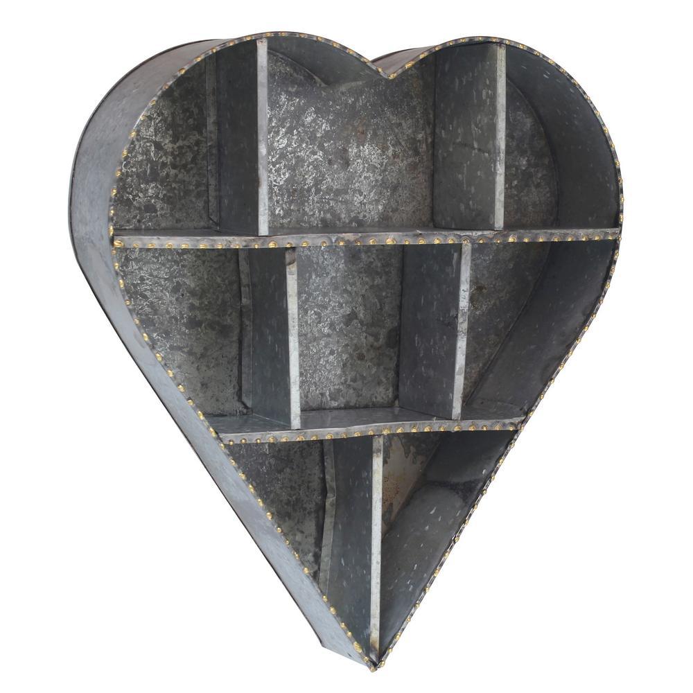 21 in. x 19 in. Galvanized Metal Heart Shape Wall Shelf