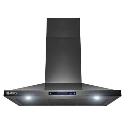 36 in. 350 CFM Convertible Wall Mount Kitchen Range Hood with LED Lights in Black Stainless Steel