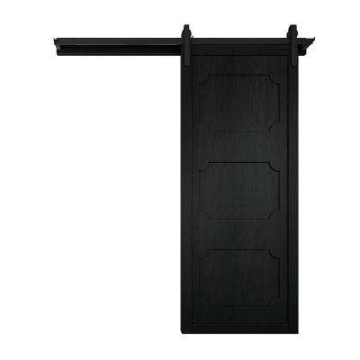 42 in. x 84 in. The Harlow III Midnight Wood Barn Door with Sliding Door Hardware Kit