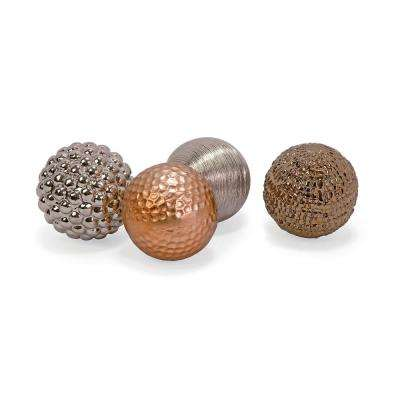 Gold Ceramic Orbs (4-Pack)
