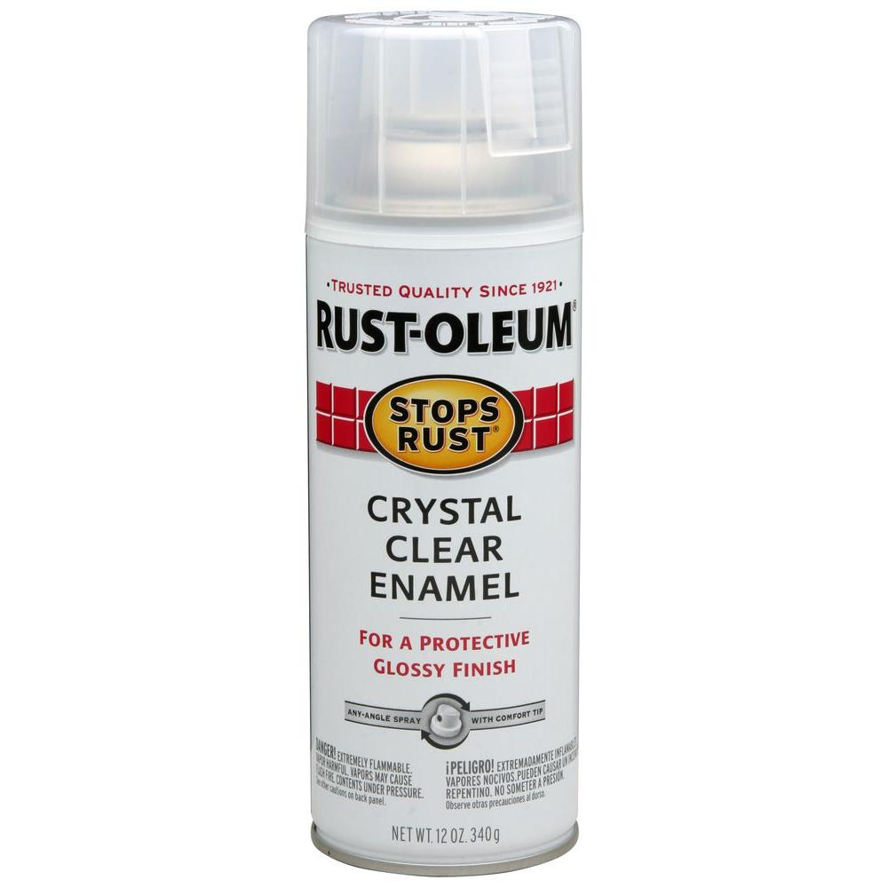 Rust Oleum Stops Rust 12 Oz Protective Enamel Gloss Crystal Clear Spray Paint
