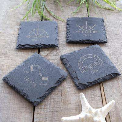 Nautical Slate Coasters (Set of 4)