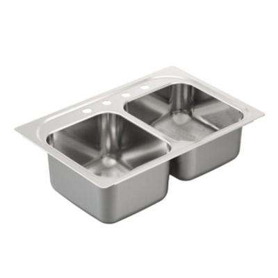 2000 Series Drop-in Stainless Steel 33 in. 4-Hole Double Bowl Kitchen Sink
