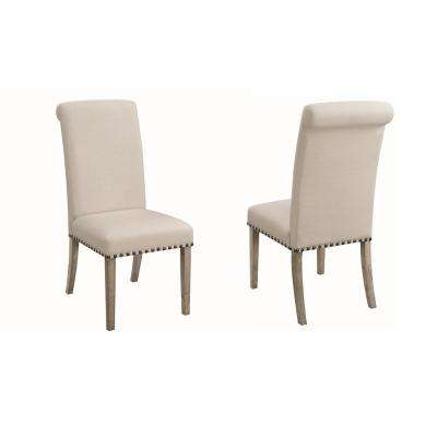 Taylor Parson Dining Chairs with Nailhead Trim Beige and Pine (Set of 2)