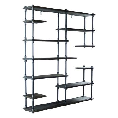 New Age 73 in. Hammered Black/Aged Black Metal 11-shelf Etagere Bookcase with Open Storage