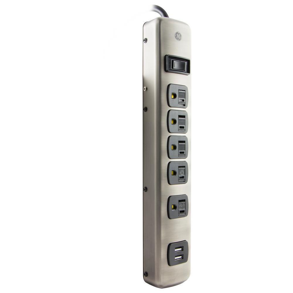 5-Outlet 2-USB Designer Surge Protector, Brushed Nickel