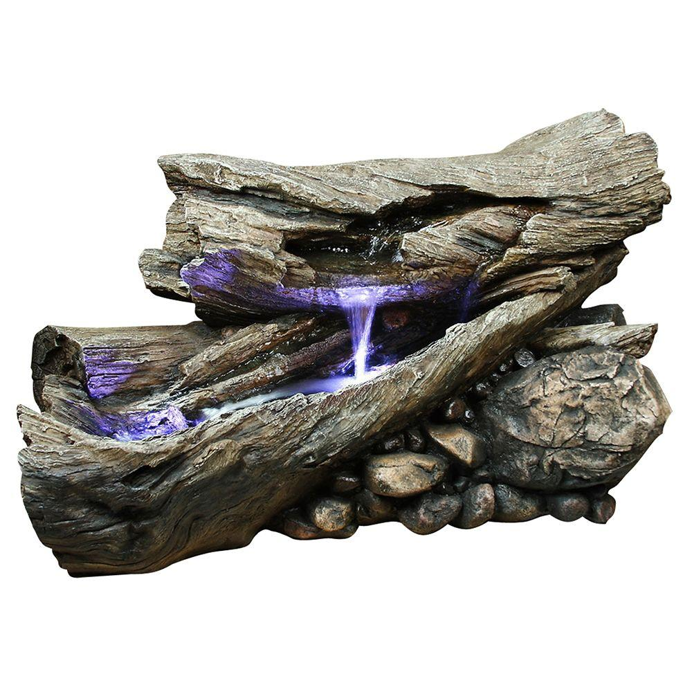 24 in. Rainforest Log Waterfall Fountain