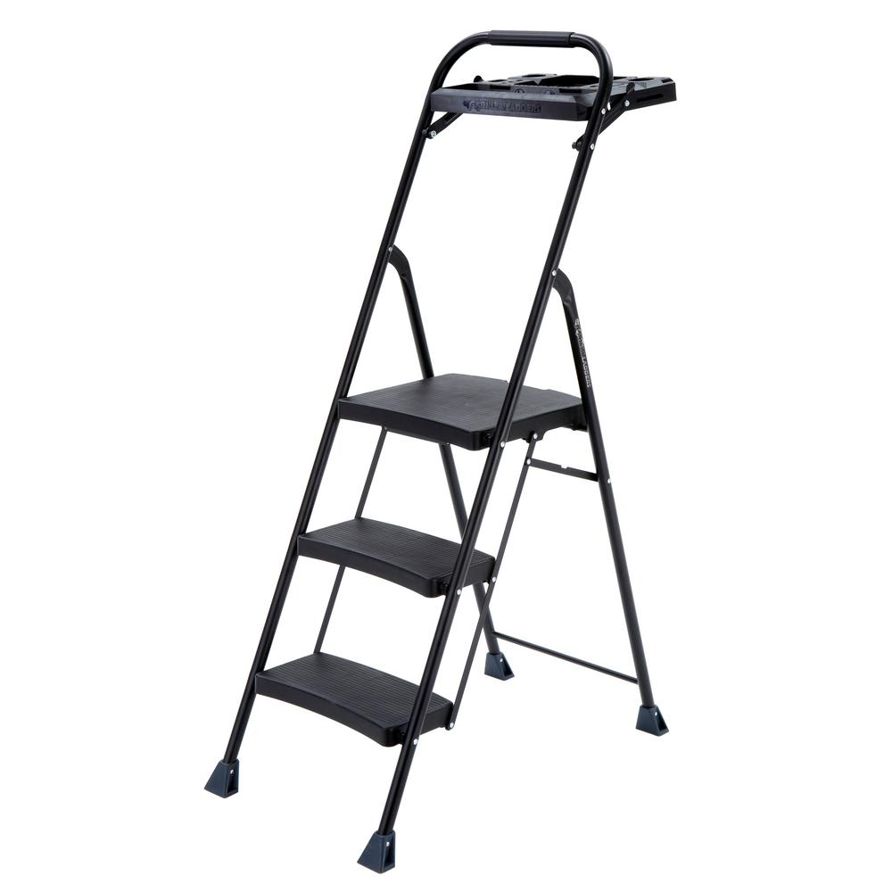 3-Step Steel Step Stool Pro-Grade Project Ladder with 250 lb. Load