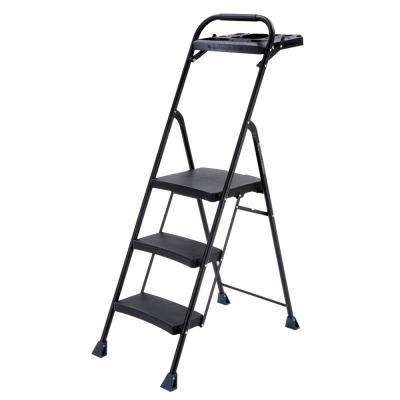 3-Step Steel Step Stool Pro-Grade Project Ladder with 250 lb. Load Capacity Rating