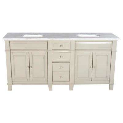 72 in. W x 23 in. D Solid Hardwood Double Vanity in Dove Gray with Solid Marble Top Sierra White