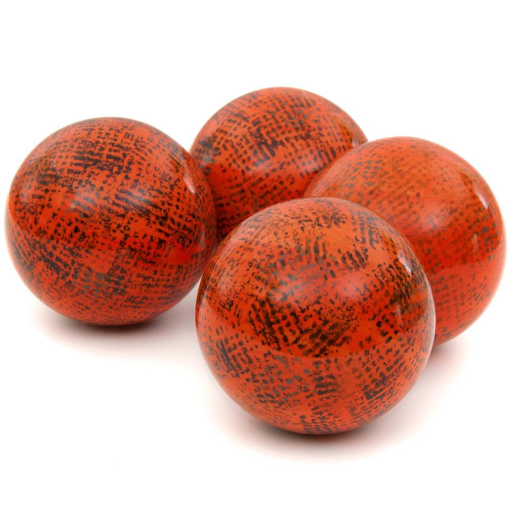 Oriental Furniture 4 in. Sponged Dark Orange Porcelain Ball Set