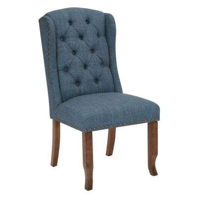 Jessica Navy Fabric Tufted Dining Chair with Bronze Nail-Heads and Coffee Legs