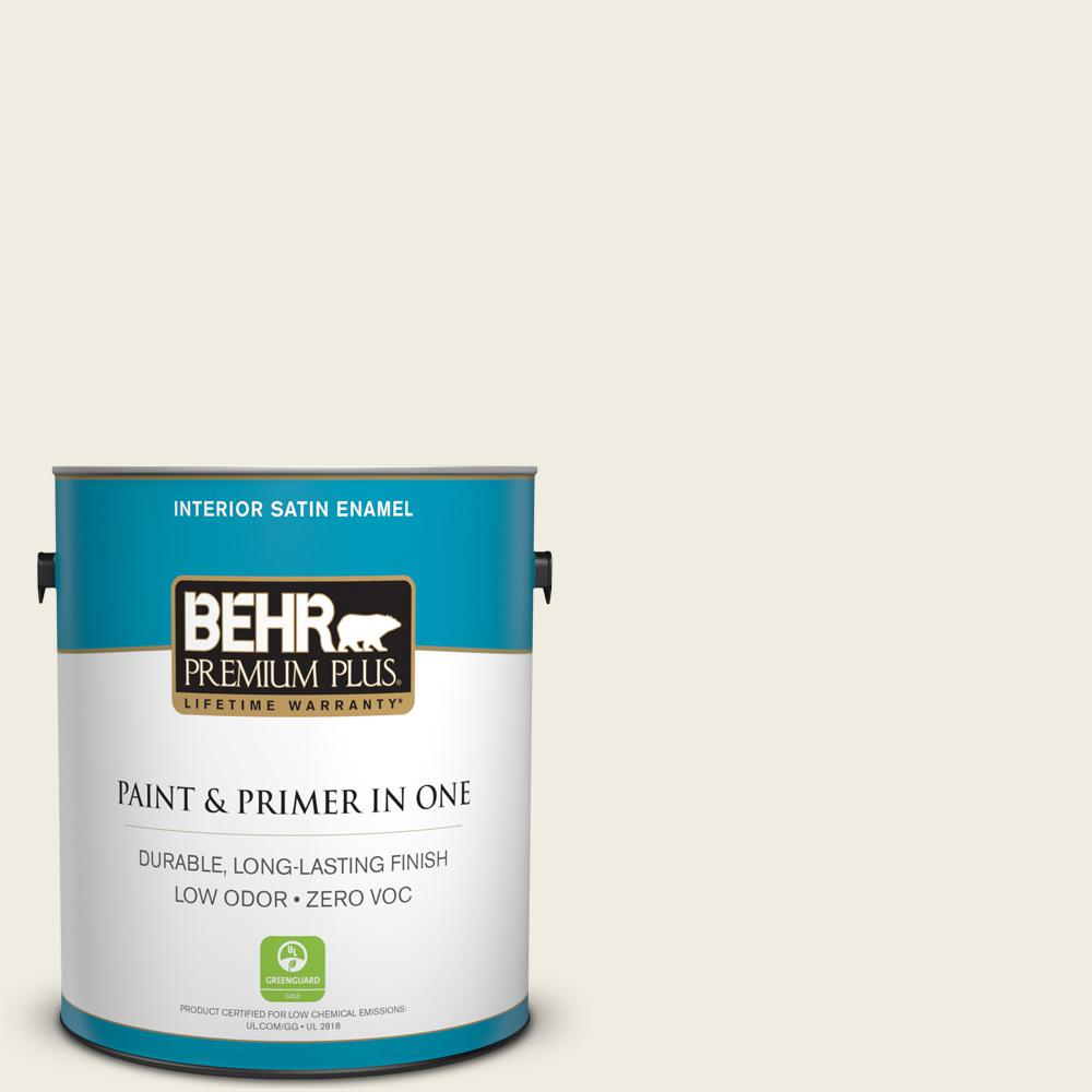 behr premium plus 1 gal 12 swiss coffee satin enamel zero voc interior paint and primer in one. Black Bedroom Furniture Sets. Home Design Ideas