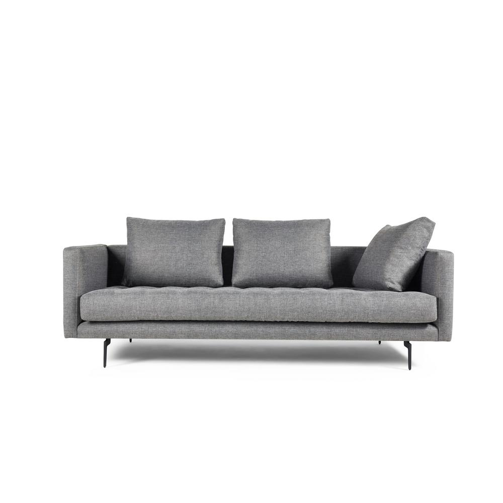 Manhattan Comfort Granville 3 Seat Light Grey Tweed Sofa