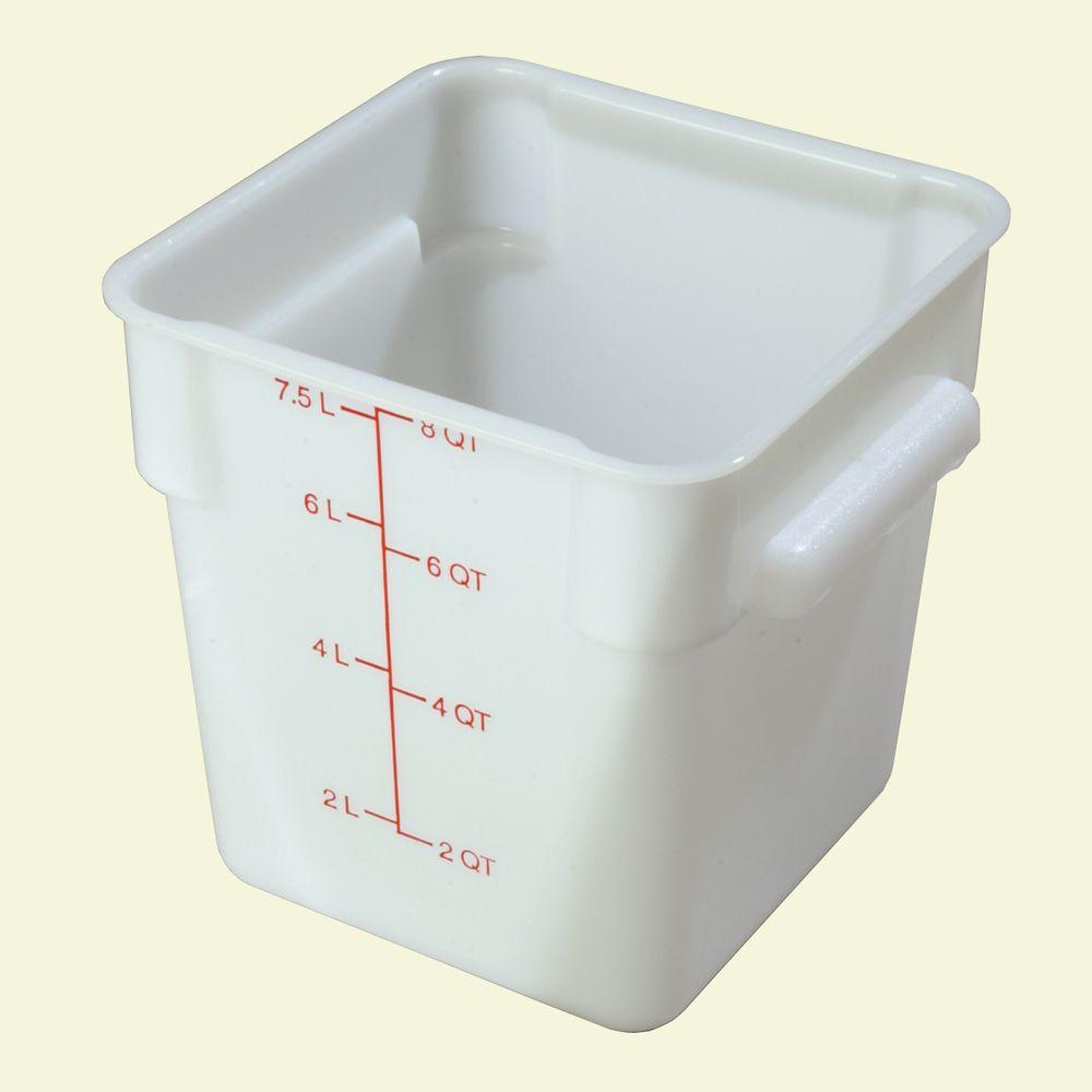 Carlisle 8 qt Polyethylene Square Food Storage Container in White