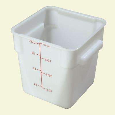 8 qt. Polyethylene Square Food Storage Container in White, Lid not Included (Case of 6)