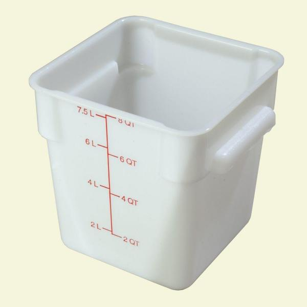 Carlisle 8 qt. Polyethylene Square Food Storage Container in White, Lid