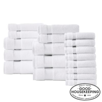 Egyptian Cotton 18-Piece Towel Set in White