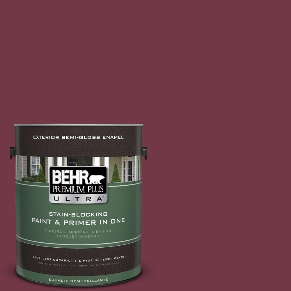 BEHR Premium Plus Ultra 1-gal. #ICC-110 Vintage Merlot Semi-Gloss Enamel Exterior Paint