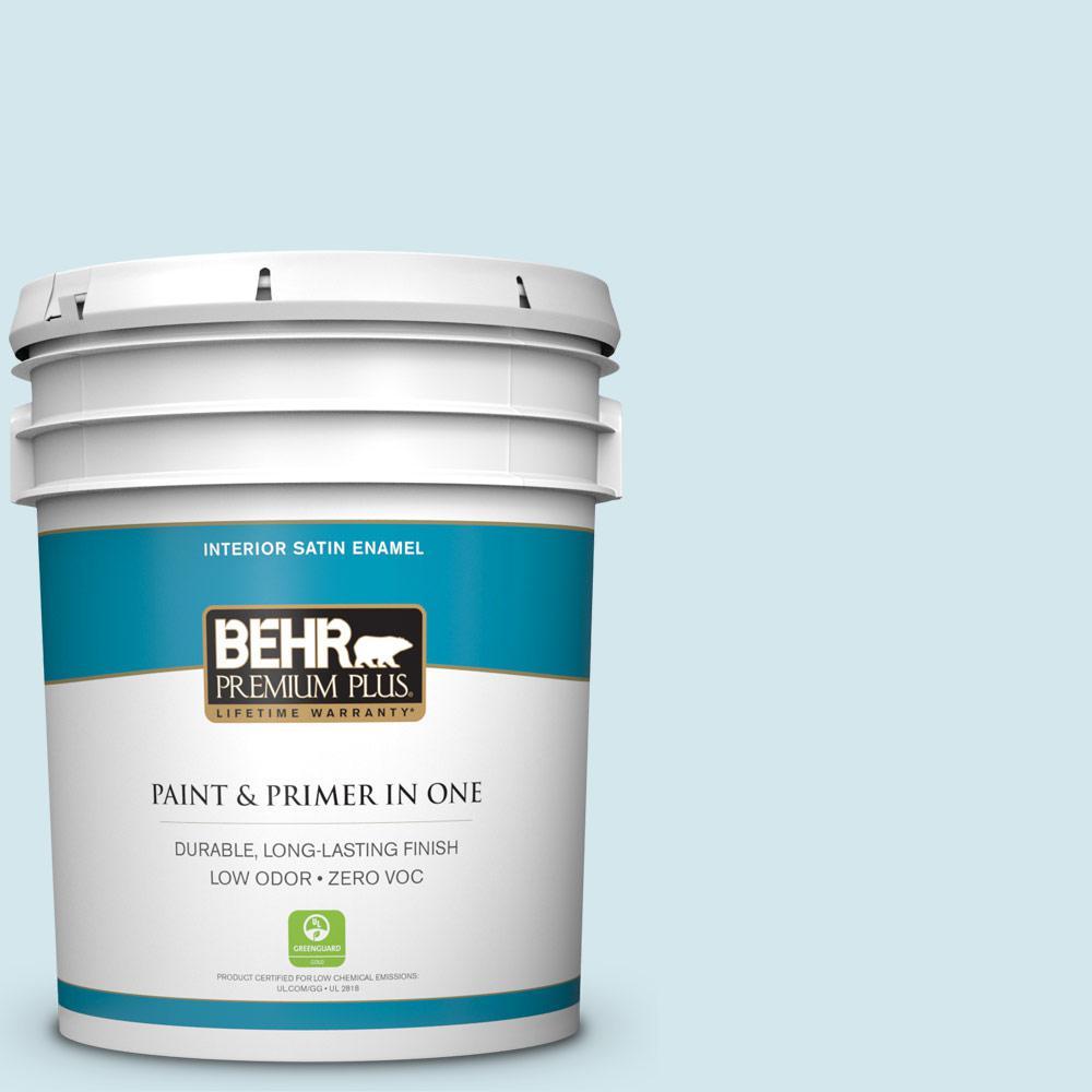 BEHR Premium Plus 5-gal. #520E-1 Coastal Mist Zero VOC Satin Enamel Interior Paint