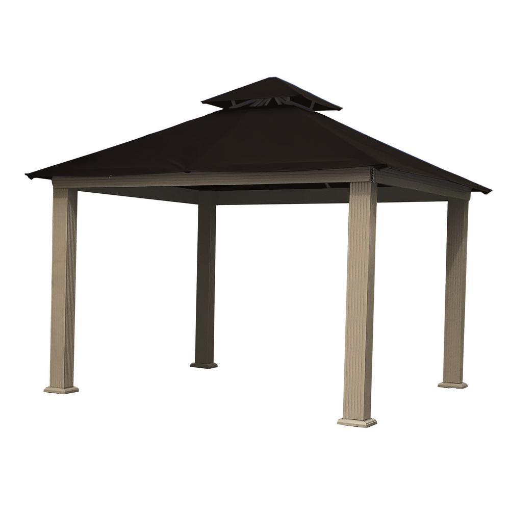 12 ft. x 12 ft. ACACIA Aluminum Gazebo with Black Canopy