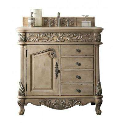 Monte Carlo 36 in. W Single Vanity in Empire Linen with Marble Vanity Top in Galala Beige with White Basin