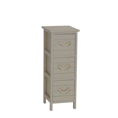 Seaside Brown 3-Drawer Narrow Storage Side Table