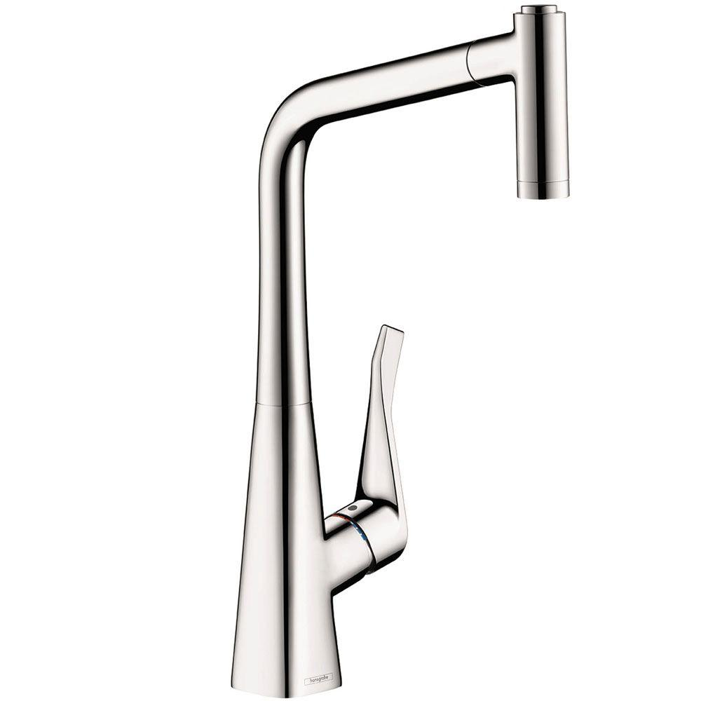 hansgrohe metris single handle pull out sprayer kitchen faucet in chrome 14820001 the home depot. Black Bedroom Furniture Sets. Home Design Ideas