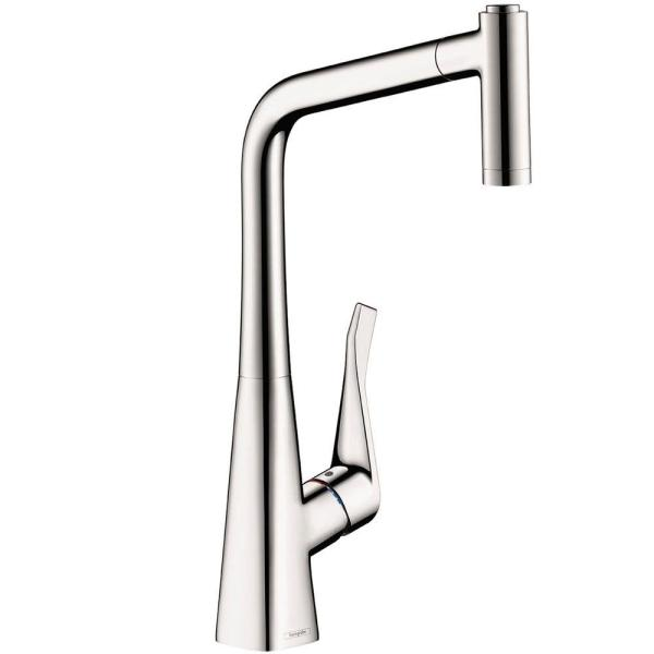 Hansgrohe Allegro E Single Handle Pull Out Sprayer Kitchen Faucet In Steel Optik 04066860 The Home Depot