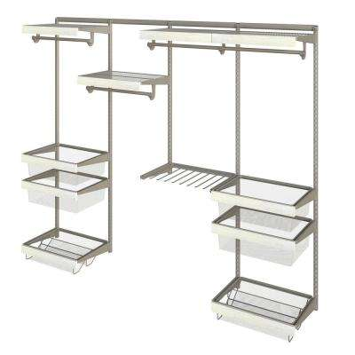 Closet Culture 16 in. x 96 in. W x 78 in. H Wire Closet System with 4 Shelves and White Oak Fascia